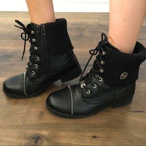 Michael Kors Moto Combat Knit Zipper Boots 5 6